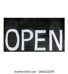 Wood open sign isolated on white background