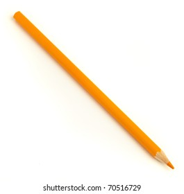 wood orange crayon isolated on a white background