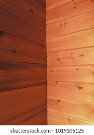 Wood paneling in small cabin