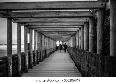 wood passage by the sea near the beach in france