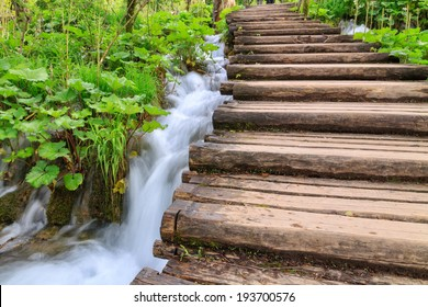 Wood path in the Plitvice Lake in Croatia