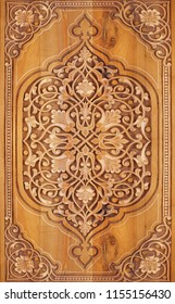 Wood pattern decorative bas-relief on the surface as part of the architecture.