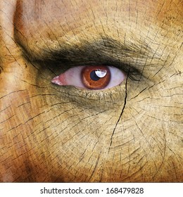 Wood pattern on man face