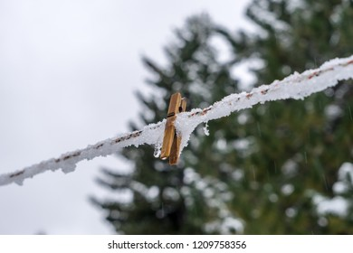 wood peg on iced washing line