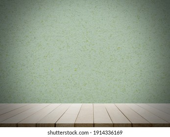 Wood perspective room with green sement wall.  empty floor for add text or product presentation. interiors concept.