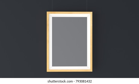 Wood Photo Frame Mockup. High resolution 3d render. Personal branding mockup template.