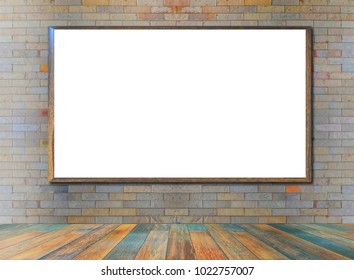 Wood picture frame on a brick wall Background