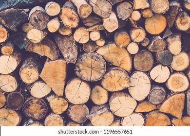 wood pile for fireside