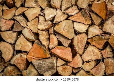 Wood pile of split logs