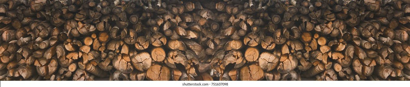 Wood piles in abstract panoramic array
