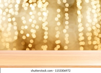 wood plank on bokeh golden yellow colorful background, empty wood table floors on bokeh glitter light gold luxury, wood table board empty front glittering gold, wooden on bokeh lighting shine gold