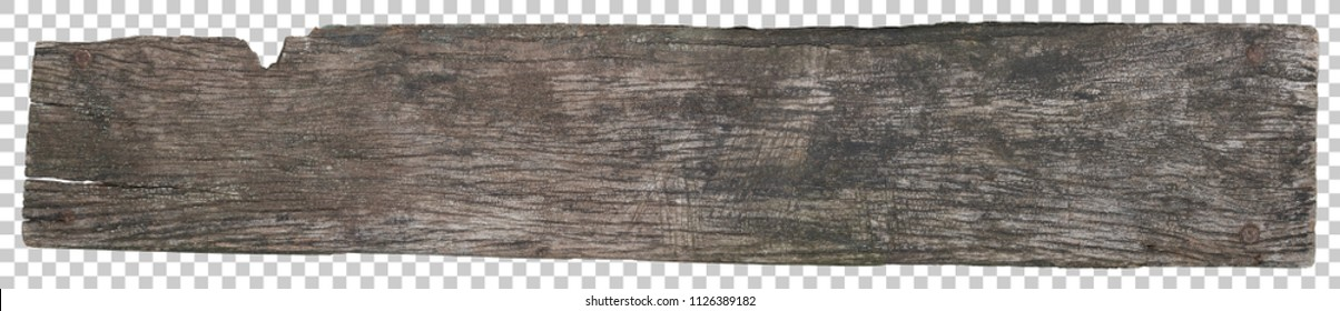 Wood plank texture, Old placard board blank for design isolated on transparent with clipping path included.