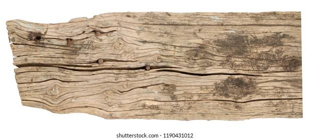 Wood plank weathered isolated on white background