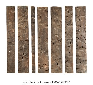 Wood plank weathered (with clipping path) isolated on white background