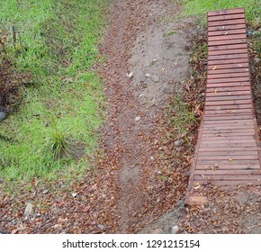 A Wood Planked Mountain Bike Jump Along Side A Mountain Trail After A Storm