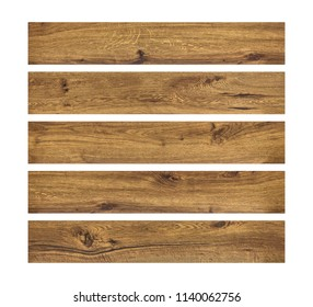 Wood planks isolated on white background. Brown wooden board. ( Clipping path )