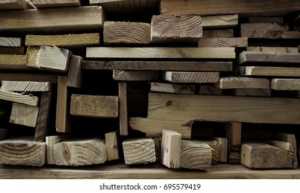 Wood planks in organized alignment.