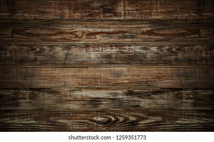 Wood planks texture dark background or wallpaper. overlap wooden wall horizontally have damage of old.