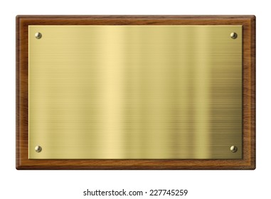 wood plaque with brass or gold metal plate isolated with clipping path included
