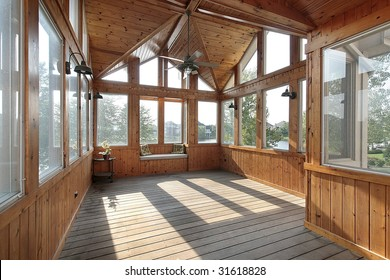 Wood porch with lake view