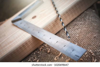 Wood processing to product with drill and ruler tools