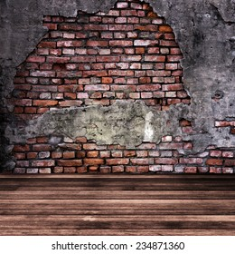 Wood and red brick texture background