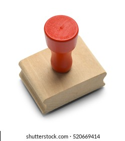 Wood Red Rubber Stamper Isolated on White Background.