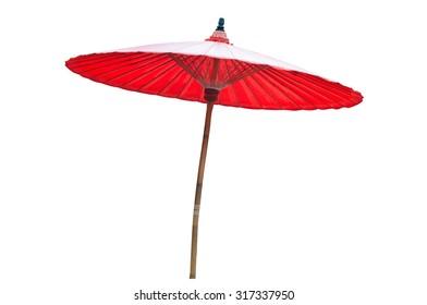Wood red umbrella on white background ,(bosang  , sankamphang thaiiand)