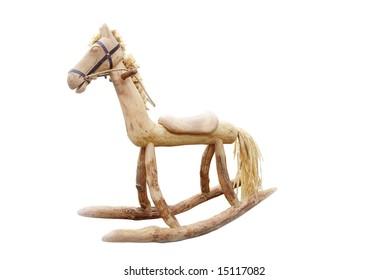 Wood Rocking Horse isolated on white background