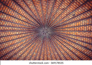 Wood roof ceiling inside pattern.