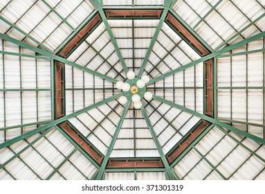 Wood roof ceiling inside pattern.