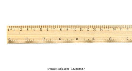 wood ruler on white background