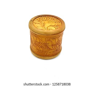 Wood russian national closed birch bark box. Ornamental old handicraft. Handmade decorative vintage craft.  Ethnic style ornament. Cylindrical round patterned box.