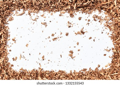 wood saw dust on white background