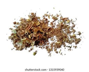 Wood sawdust on white background. Pile of wood shavings and wood powder isolated on white background.