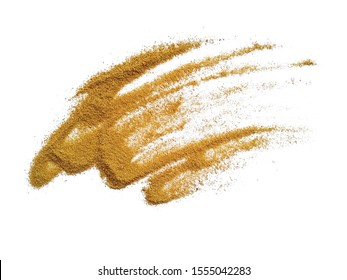 Wood sawdust on white background. Pile of wood shavings and wood powder isolated on white background.