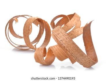 Wood shavings isolated on white background