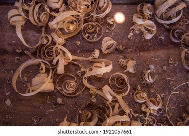 Wood shavings on the carpenter's : woodworking and carpentry concept