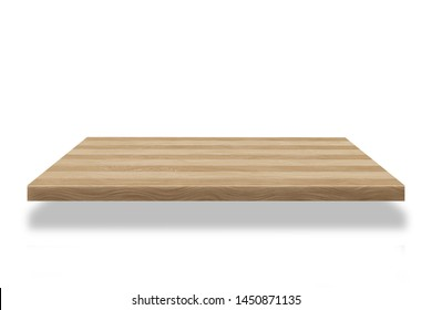 wood Shelf beautiful  or counter isolated on white background. For product display and Clipping path