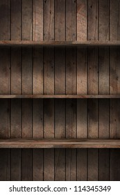Wood shelf, grunge industrial interior Uneven diffuse lighting version. Design component