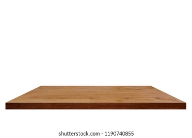 Wood shelf isolated on white background.