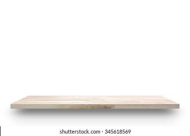Wood shelf isolated on white background