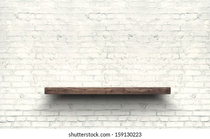 Wood shelf on brick wall texture background.
