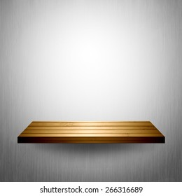 Wood shelf on white flare wall.