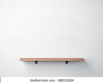Wood shelf on white wall