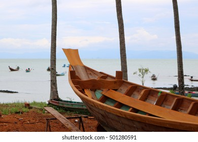 Wood shipbuilding near the sea in Thailand.