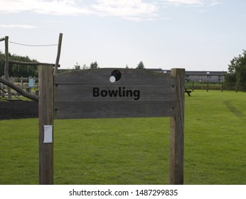 Wood sign for Bowling Green Grange over sands Cumbria England 24/08/2019 by Roy Hinchliffe