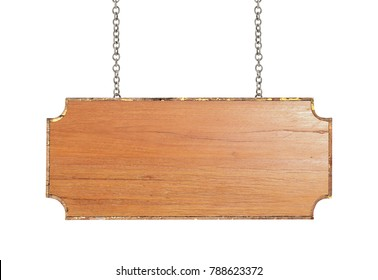 Wood sign with chain isolated