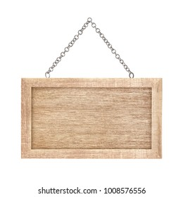 Wood sign from chain isolated on white