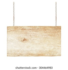 Wood sign from a chain isolated on white background.